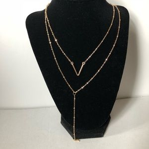 V double layered dainty gold Toned Necklace